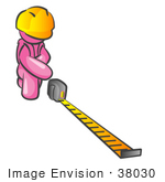 #38030 Clip Art Graphic of a Pink Guy Character Measuring by Jester Arts