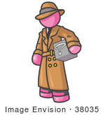#38035 Clip Art Graphic Of A Pink Guy Character Investigator Carrying A Box