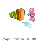 #38039 Clip Art Graphic Of A Pink Guy Character With A Bar Graph
