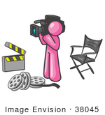 #38045 Clip Art Graphic Of A Pink Guy Character Filming A Movie