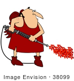 #38099 Clip Art Graphic Of Cupid With A Heart Tattoo Operating A Pressure Washer
