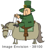 #38100 Clip Art Graphic Of A St Paddy'S Day Leprechaun On Horseback