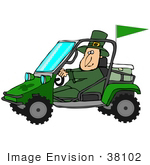 #38102 Clip Art Graphic Of A St Paddy'S Day Leprechaun Driving A Mud Bug