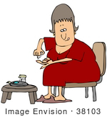 #38103 Clip Art Graphic Of A Caucasian Woman With Diabetes Pricking Her Finger