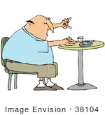 #38104 Clip Art Graphic Of A Caucasian Man With Diabetes Pricking His Finger