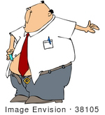 #38105 Clip Art Graphic Of A Caucasian Man With Diabetes Giving Himself An Insulin Shot In His Belly