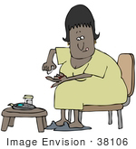 #38106 Clip Art Graphic Of An African American Woman With Diabetes Pricking Her Finger