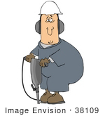 #38109 Clip Art Graphic of a Caucasian Man Working at a Construction Site With a Jackhammer by DJArt