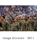 #3811 Soldiers Waving American Flags
