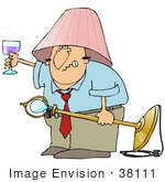 #38111 Clip Art Graphic Of A Drunk Cacuasian Man Holding Up A Glass Of Wine And Wearing A Lamp Shade