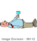 #38112 Clip Art Graphic Of A Drunk Caucasian Man Holding Up Wine And Laying On His Back After Passing Out