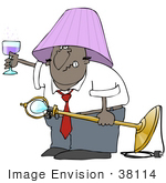#38114 Clip Art Graphic Of A Drunk African American Man Holding Up A Glass Of Wine And Wearing A Lamp Shade