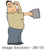 #38115 Clip Art Graphic Of A Caucasian Man Begging For Money And Holding A Tin Cup