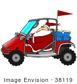 #38119 Clip Art Graphic Of Santa Claus Driving A Red Mud Bug