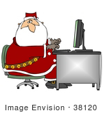 #38120 Clip Art Graphic Of Santa Claus Answering Emails On A Computer