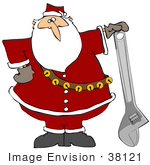 #38121 Clip Art Graphic Of Santa Claus With A Wrench