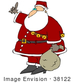 #38122 Clip Art Graphic Of Santa Claus Hitchiking On Christmas