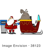 #38123 Clip Art Graphic Of Santa Claus Refueling His Sleigh