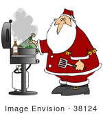 #38124 Clip Art Graphic Of Santa Claus Grilling On The Bbq