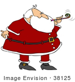 #38125 Clip Art Graphic of Santa Claus Blowing a Noise Maker at a Party by DJArt