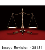 #38134 Clip Art Graphic of a Balanced Brass Justice Scale, Symbolizing Equality, Over A Red And Black Background by Oleksiy Maksymenko