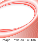 #38136 Clip Art Graphic of a Background Of Red Waves Curving Around A Blank White Oval Space by Oleksiy Maksymenko