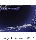 #38137 Clip Art Graphic Of A Blue Background Bordered By White Waves With Snowflakes With A Merry Christmas Greeting