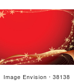 #38138 Clip Art Graphic Of A Red Background Bordered By Golden Waves With Snowflakes
