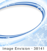 #38141 Clip Art Graphic Of A Background Of Blue Waves And Snowflakes Curving Around A Blank White Oval Space