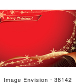 #38142 Clip Art Graphic Of A Red Background Bordered By Golden Waves With Snowflakes With A Merry Christmas Greeting