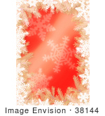 #38144 Clip Art Graphic Of A Red Christmas Background With Tree Branches And Snowflakes Bordered By White