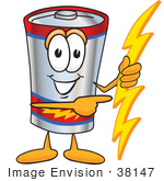#38147 Clip Art Graphic Of A Battery Mascot Character Holding A Bolt Of Energy And Pointing To The Right