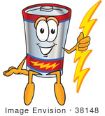 #38148 Clip Art Graphic Of A Battery Mascot Character Sitting And Holding A Bolt Of Energy