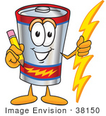 #38150 Clip Art Graphic Of A Battery Mascot Character Holding A Pencil