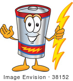 #38152 Clip Art Graphic Of A Battery Mascot Character Holding A Bolt Of Energy And Welcoming