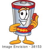 #38153 Clip Art Graphic Of A Battery Mascot Character Holding A Telephone