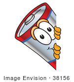 #38156 Clip Art Graphic Of A Battery Mascot Character Peeking Around A Corner