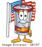 #38157 Clip Art Graphic Of A Battery Mascot Character Pledging Allegiance To An American Flag