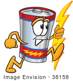 #38158 Clip Art Graphic Of A Battery Mascot Character Holding A Bolt Of Energy And Running