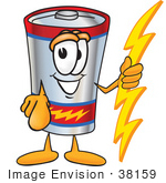#38159 Clip Art Graphic Of A Battery Mascot Character Holding A Bolt Of Energy And Pointing At The Viewer