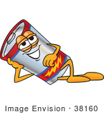 #38160 Clip Art Graphic Of A Battery Mascot Character Reclined