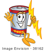 #38162 Clip Art Graphic Of A Battery Mascot Character Holding A Bolt Of Energy And Jumping