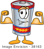 #38163 Clip Art Graphic of a Battery Mascot Character Flexing His Arm Muscles by toons4biz