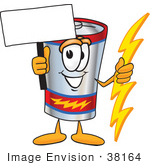#38164 Clip Art Graphic Of A Battery Mascot Character Holding A Bolt Of Energy And A Blank Sign