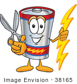 #38165 Clip Art Graphic Of A Battery Mascot Character Holding A Pair Of Scissors
