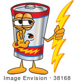#38168 Clip Art Graphic Of A Battery Mascot Character Holding A Bolt Of Energy And Whispering