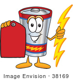 #38169 Clip Art Graphic Of A Battery Mascot Character Holding A Bolt Of Energy And A Red Sales Price Tag