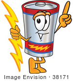 #38171 Clip Art Graphic Of A Battery Mascot Character Holding A Bolt Of Energy And Pointing Upwards