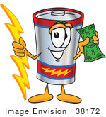 #38172 Clip Art Graphic Of A Battery Mascot Character Holding A Bolt Of Energy And A Green Dollar Bill