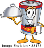 #38173 Clip Art Graphic Of A Battery Mascot Character Dressed As A Waiter And Holding A Serving Platter